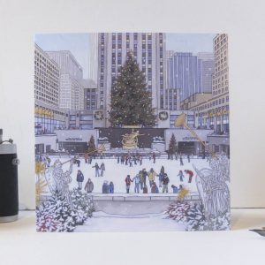 Rockefeller Christmas Tree Greeting Card - Illustration by Jonathan Chapman
