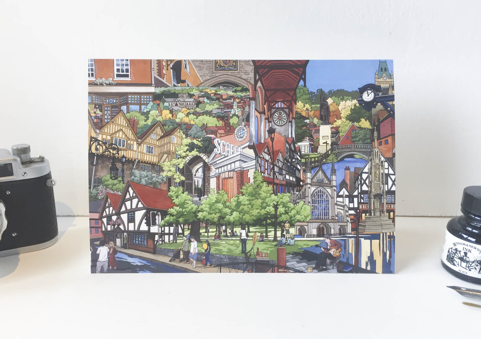 Winchester Collage Greeting Card – Illustration by Jonathan Chapman-7
