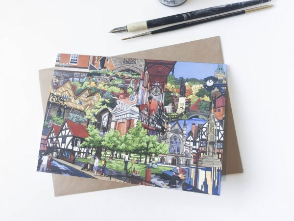 Winchester Collage Greeting Card - Illustration by Jonathan Chapman
