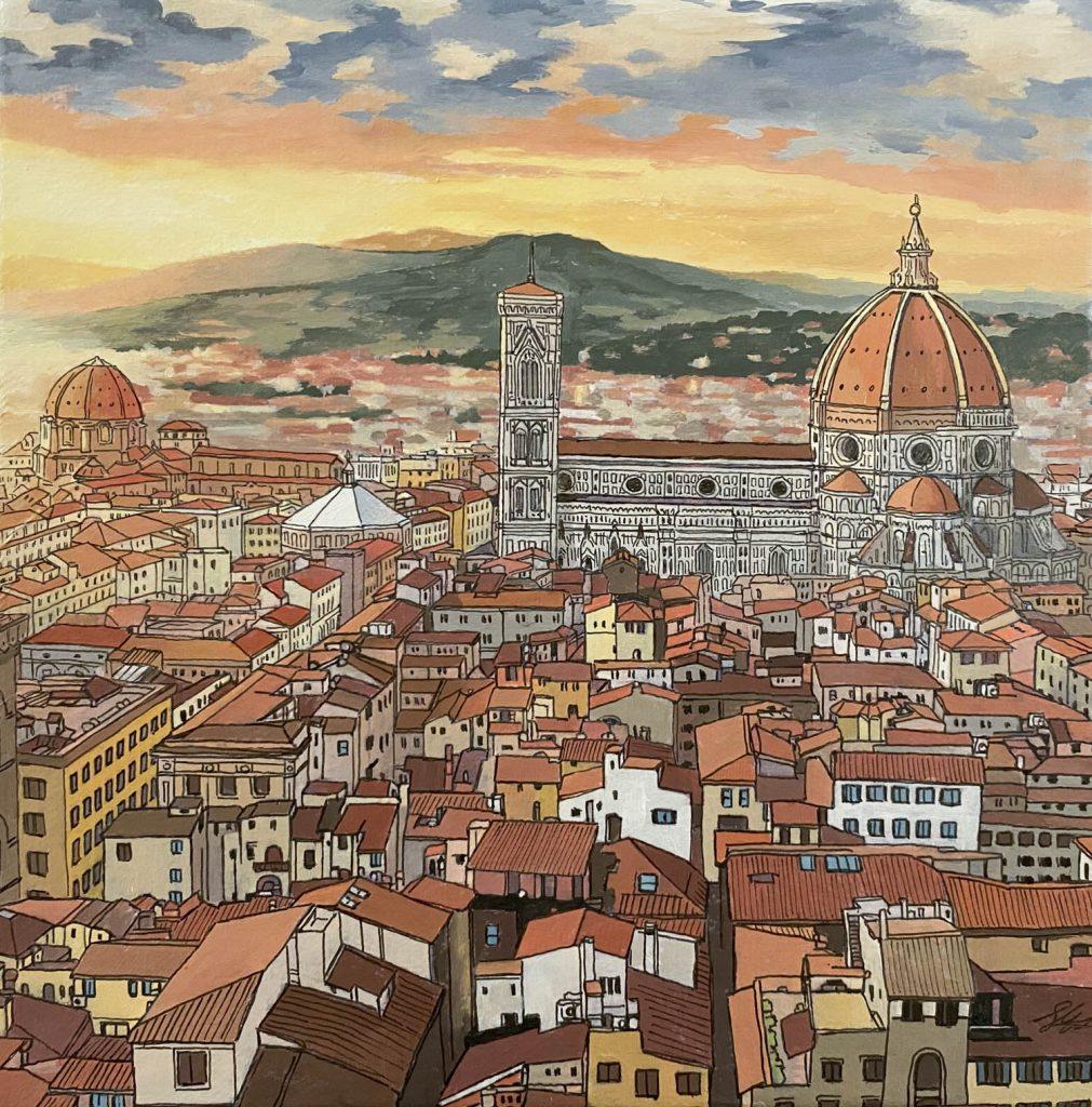 Florence Sunset - Illustration by Jonathan Chapman