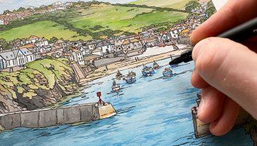 Port Isaac Study - Illustration by Jonathan Chapman