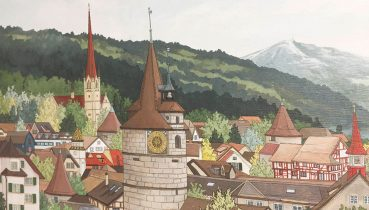View From the Rose Garden Zug Commission - Illustration by Jonathan Chapman