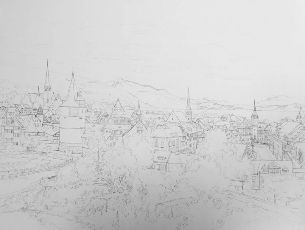 View From the Rosegarden Zug Commission - Illustration by Jonathan Chapman