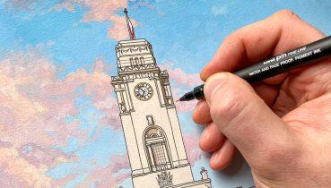 Barnsley Town Hall Detail - Illustration by Jonathan Chapman