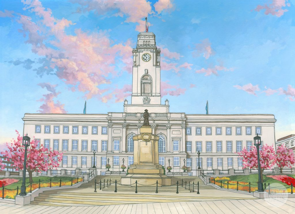 Barnsley Town Hall - Illustration by Jonathan Chapman