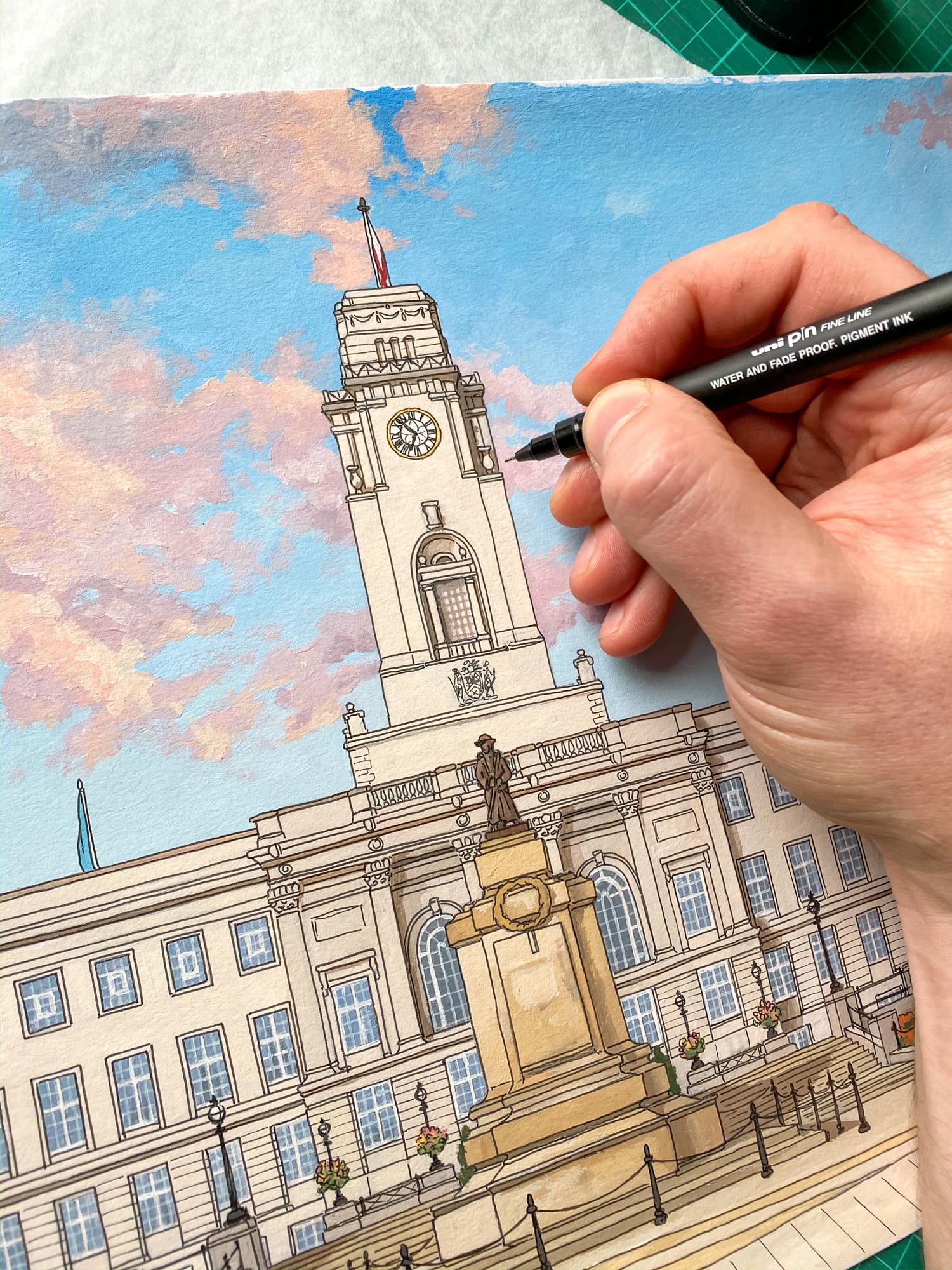 Barnsley Town Hall on the easel - Illustration by Jonathan Chapman