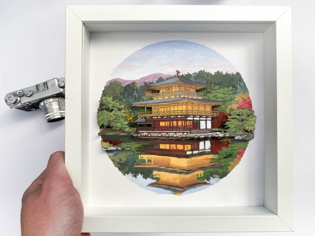 Golden Pavilion Kinkakuji temple, Kyoto - Illustration by Jonathan
