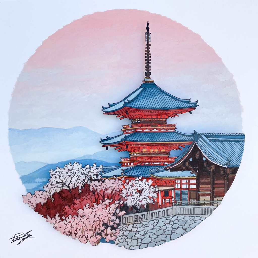 Pagoda at Kiyomizudera - Illustration by Jonathan