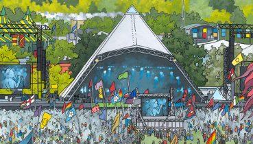 Pyramid Stage Glastonbury - Illustration by Jonathan Chapman