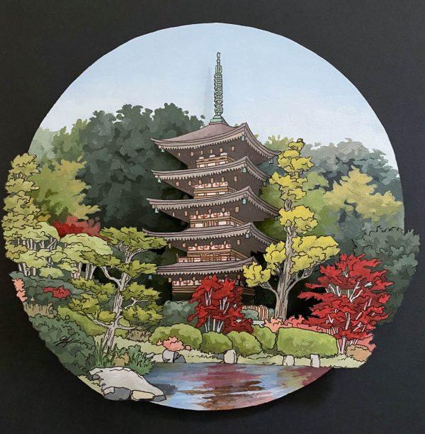 Rurikoji Temple Yamaguchi City - Illustration by Jonathan Chapman