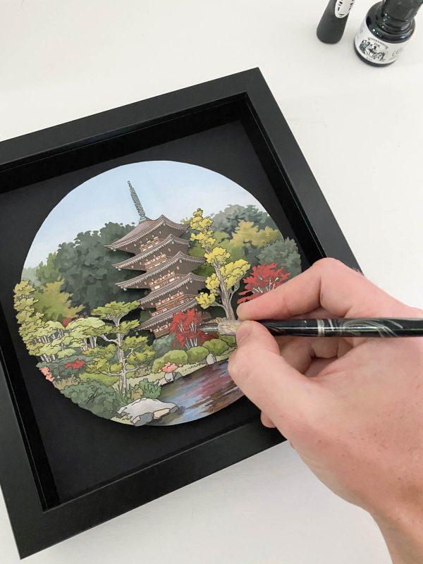 Rurikoji Temple Yamaguchi City - Illustration by Jonathan Chapman - Created for artist support pledge