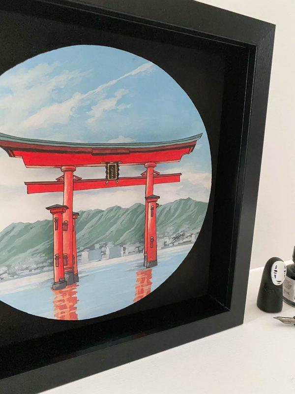 Torii Gate at Itsukushima - Illustration by Jonathan Chapman - artist support pledge