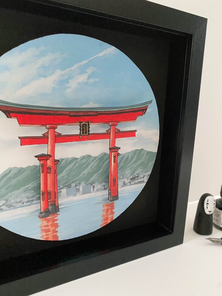 Torii Gate at Itsukushima - Illustration by Jonathan Chapman - artist support pledge