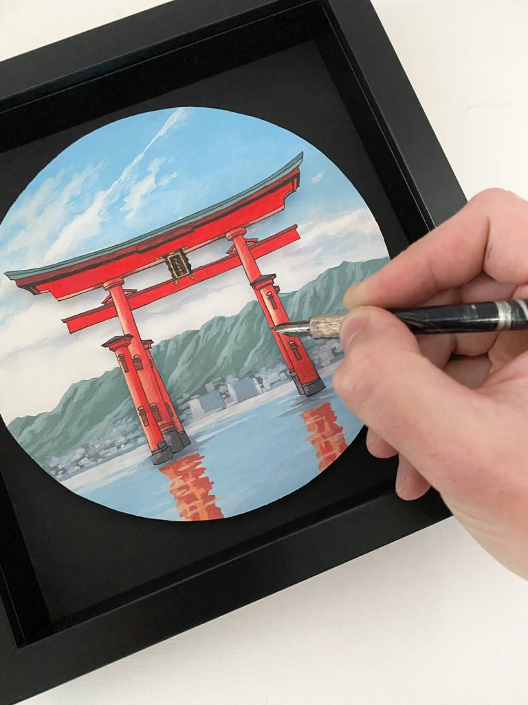 Torii Gate at Itsukushima - Illustration by Jonathan Chapman