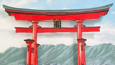 Temples and Torii Gates - Illustration by Jonathan