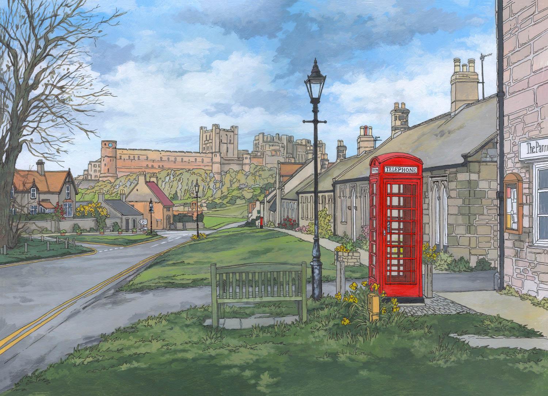 Original painting of Bamburgh - Illustration by Jonathan Chapman