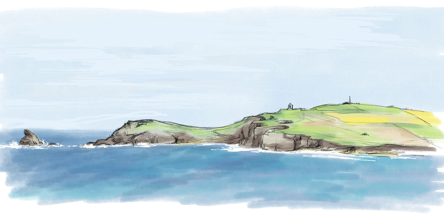 Trevose Head - digital drawing by artist Jonathan Chapman