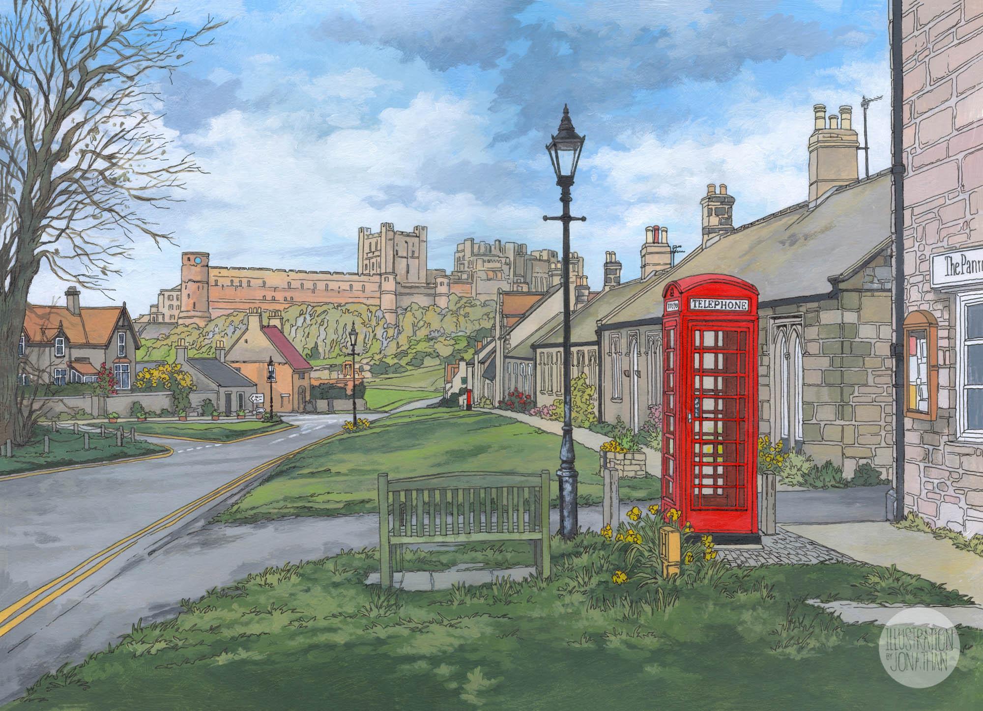 Bamburgh - Illustration by Jonathan Chapman
