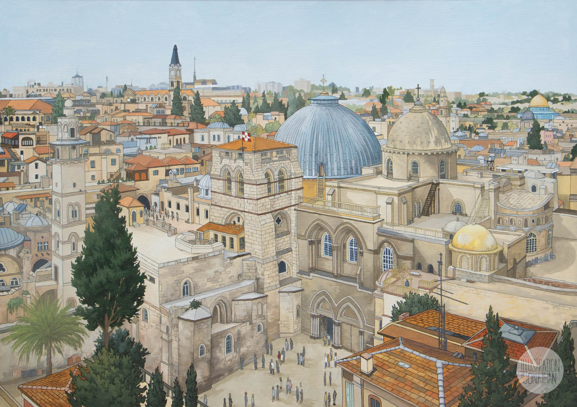 Church of the Holy Sepulchre Jerusalem - Illustration by Jonathan Chapman