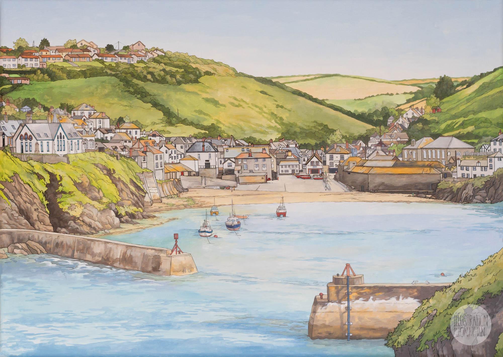 Port Isaac Cornwall - Illustration by Jonathan Chapman