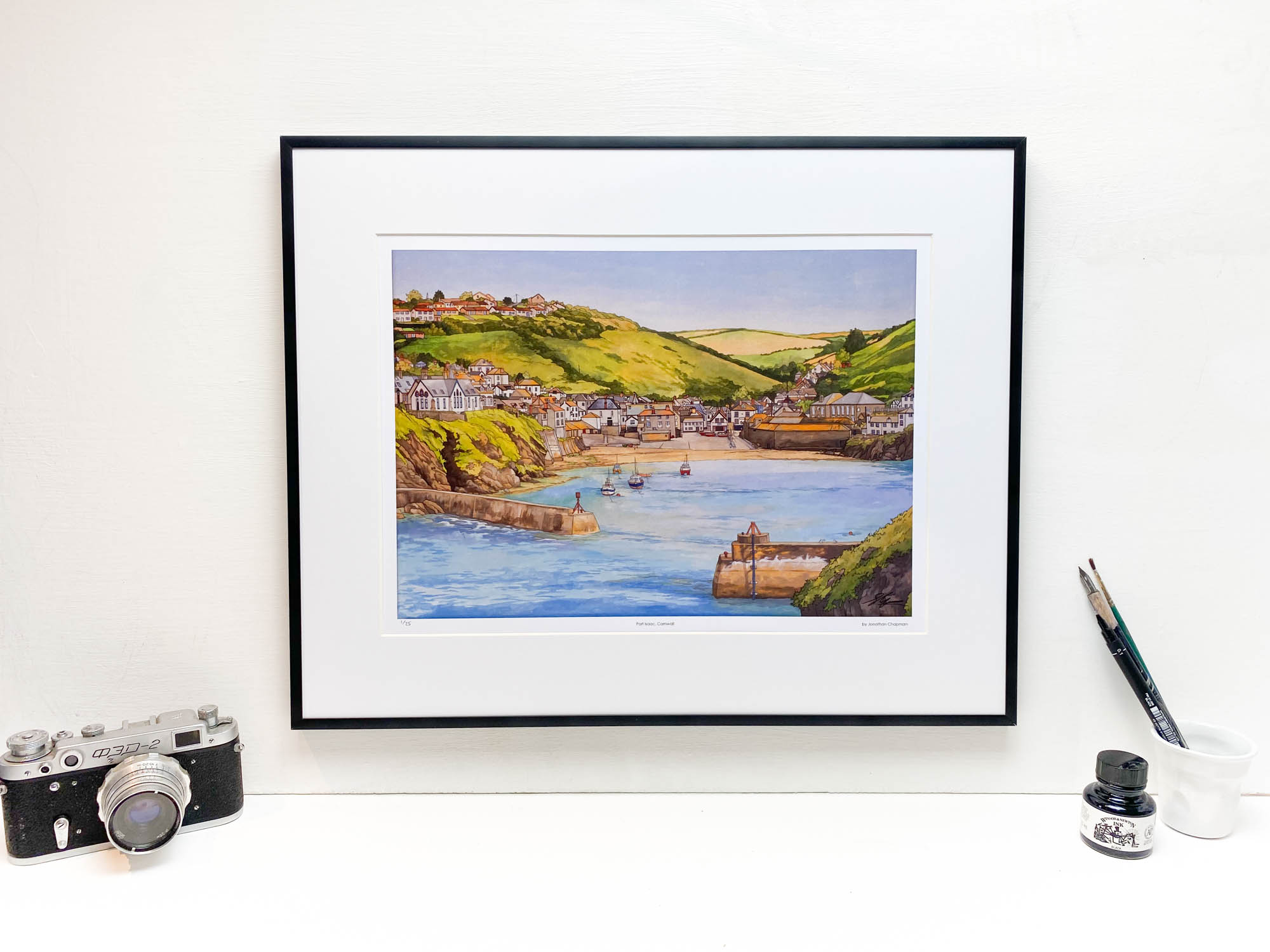 Port Isaac Cornwall Limited Edition Print - Illustration by Jonathan Chapman