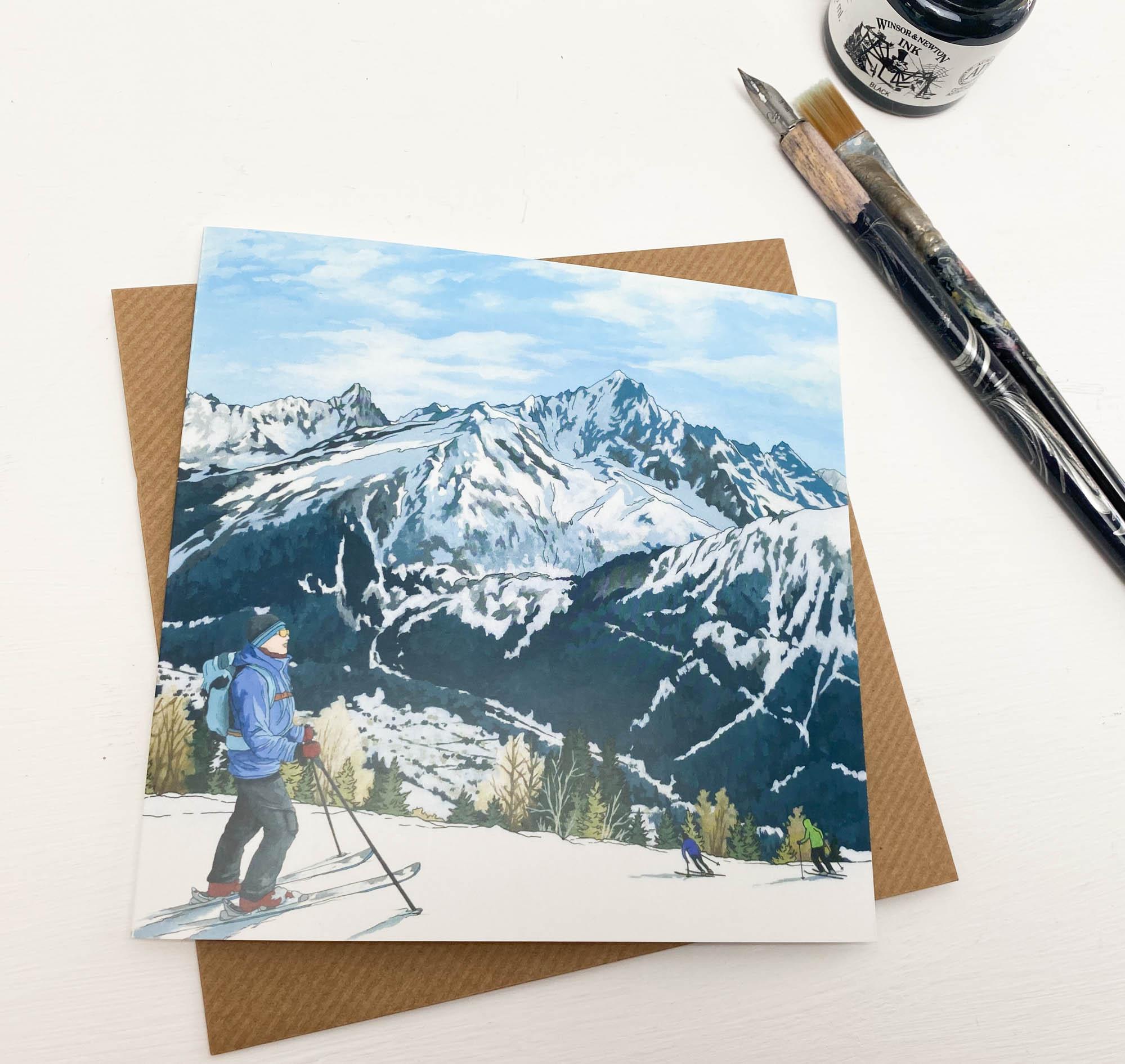 Ski Season Greeting Card - Illustration by Jonathan Chapman