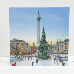 Trafalgar Square Christmas Tree Greeting Card - Illustration by Jonathan Chapman