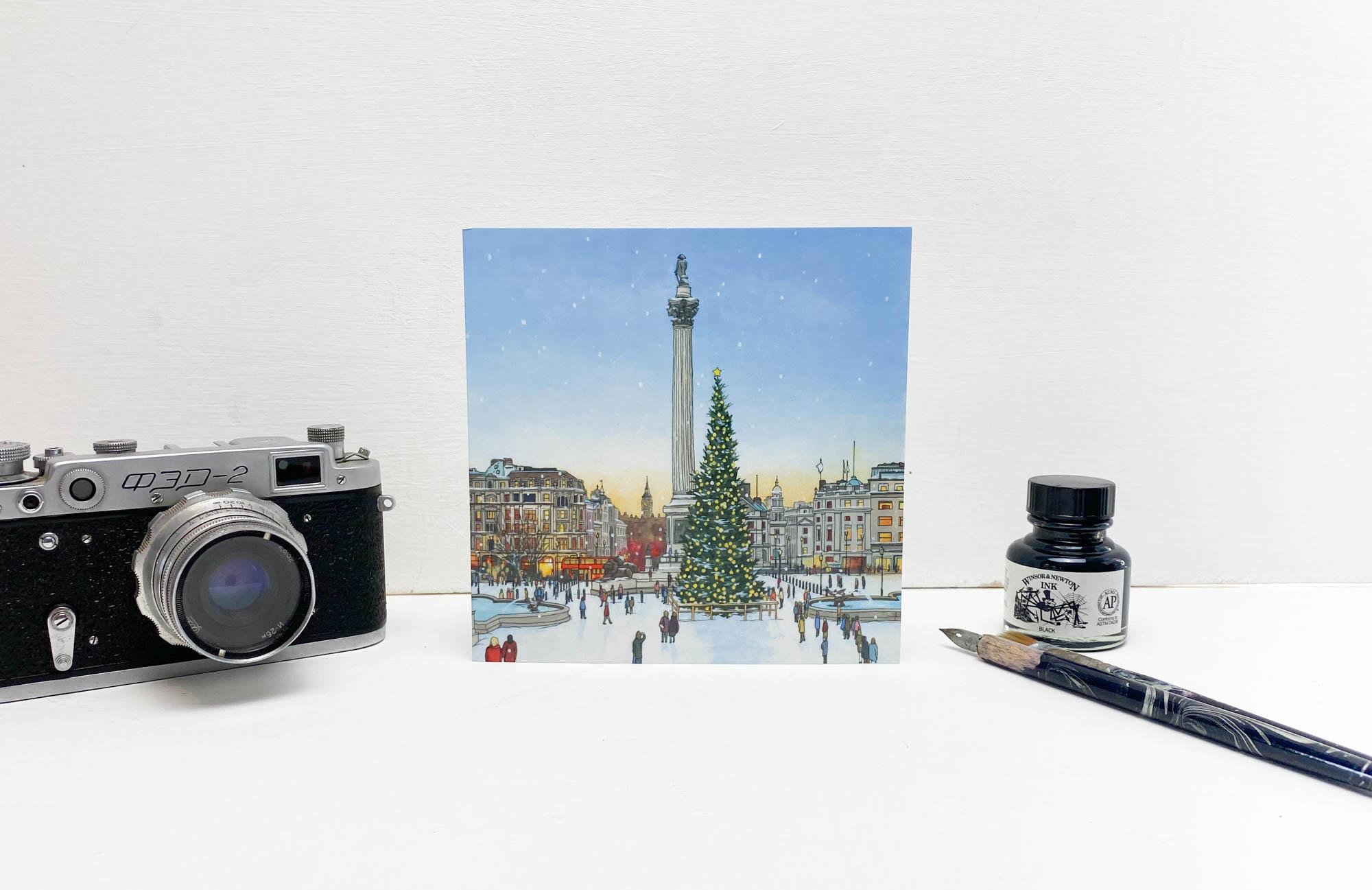 Trafalgar Square Christmas Tree Greeting Card - Illustration by Jonathan Chapman
