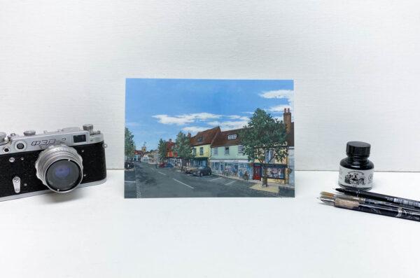 Broad Street Alresford Greeting Card - Illustration by Jonathan Chapman