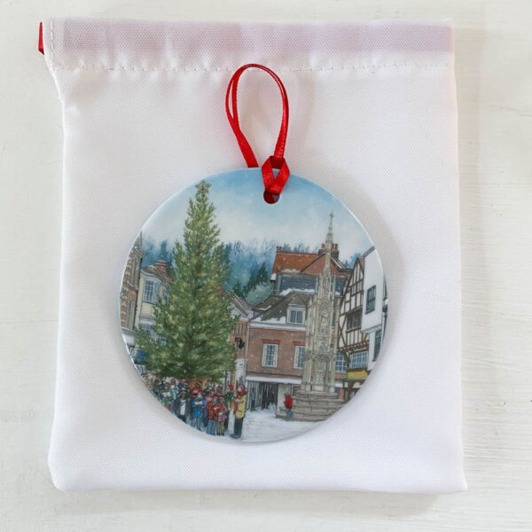 Carols Christmas Tree Ornament - Illustration by Jonathan Chapman
