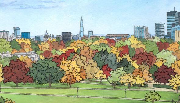 Primrose Hilll in Autumn - Illustration by Jonathan Chapman