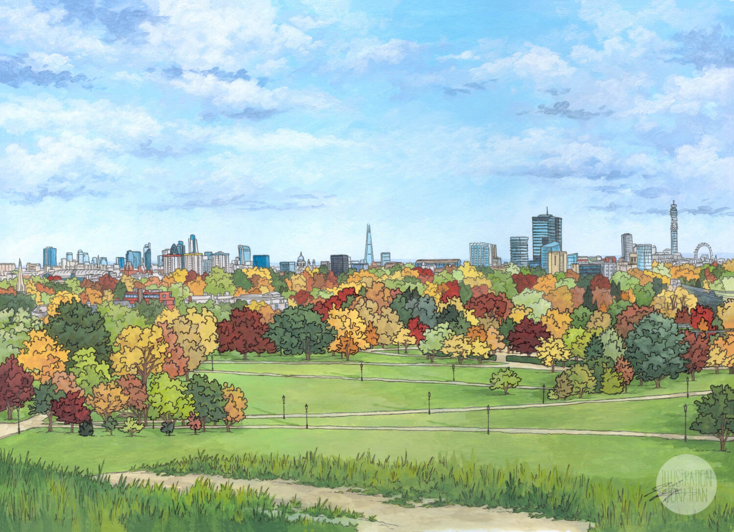 Primrose Hilll in Autumn - Illustration by Jonathan Chapman