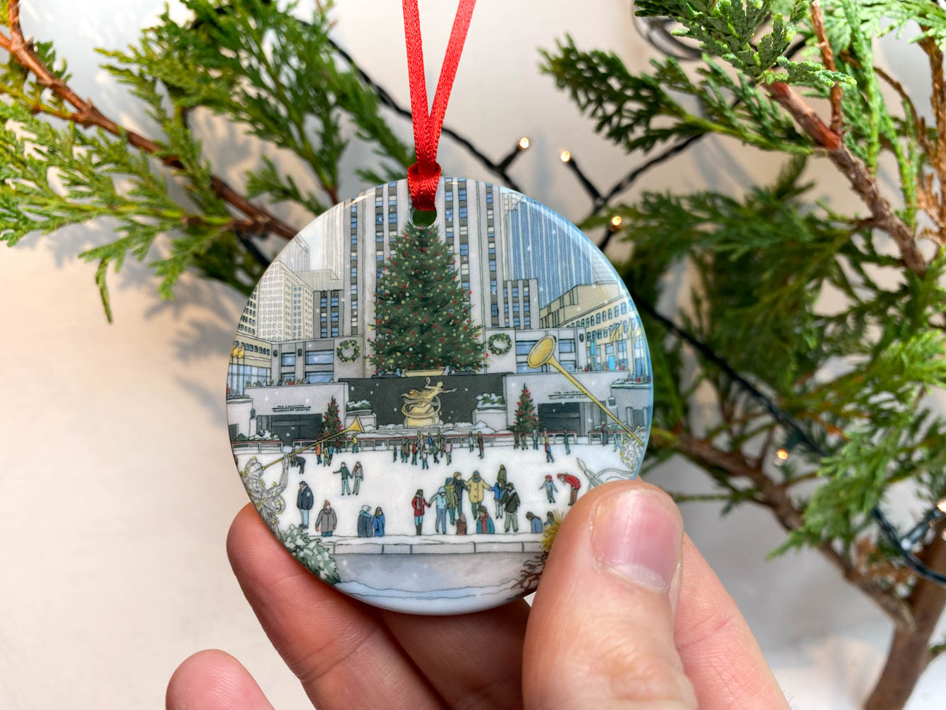 New York Christmas Tree Ornament - Illustration by Jonathan Chapman