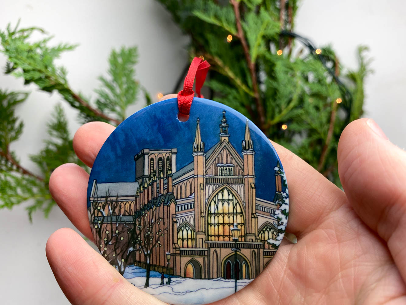 Winchester Christmas Tree Ornament - Illustration by Jonathan Chapman