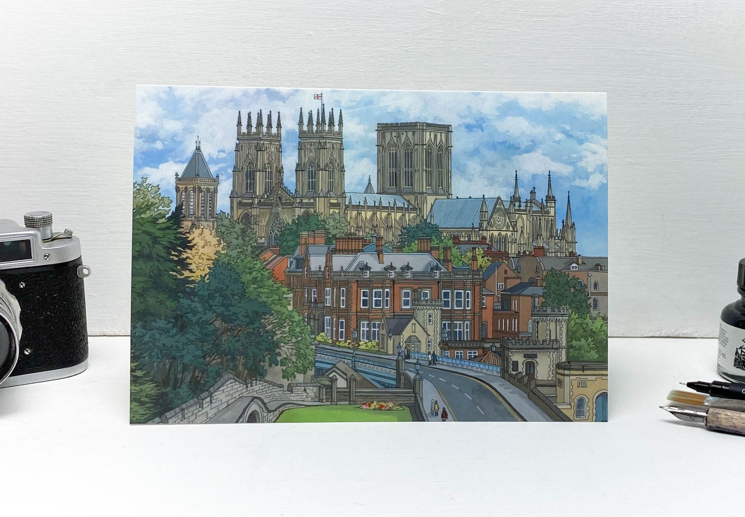 York Minster Greeting Card - Illustration by Jonathan Chapman