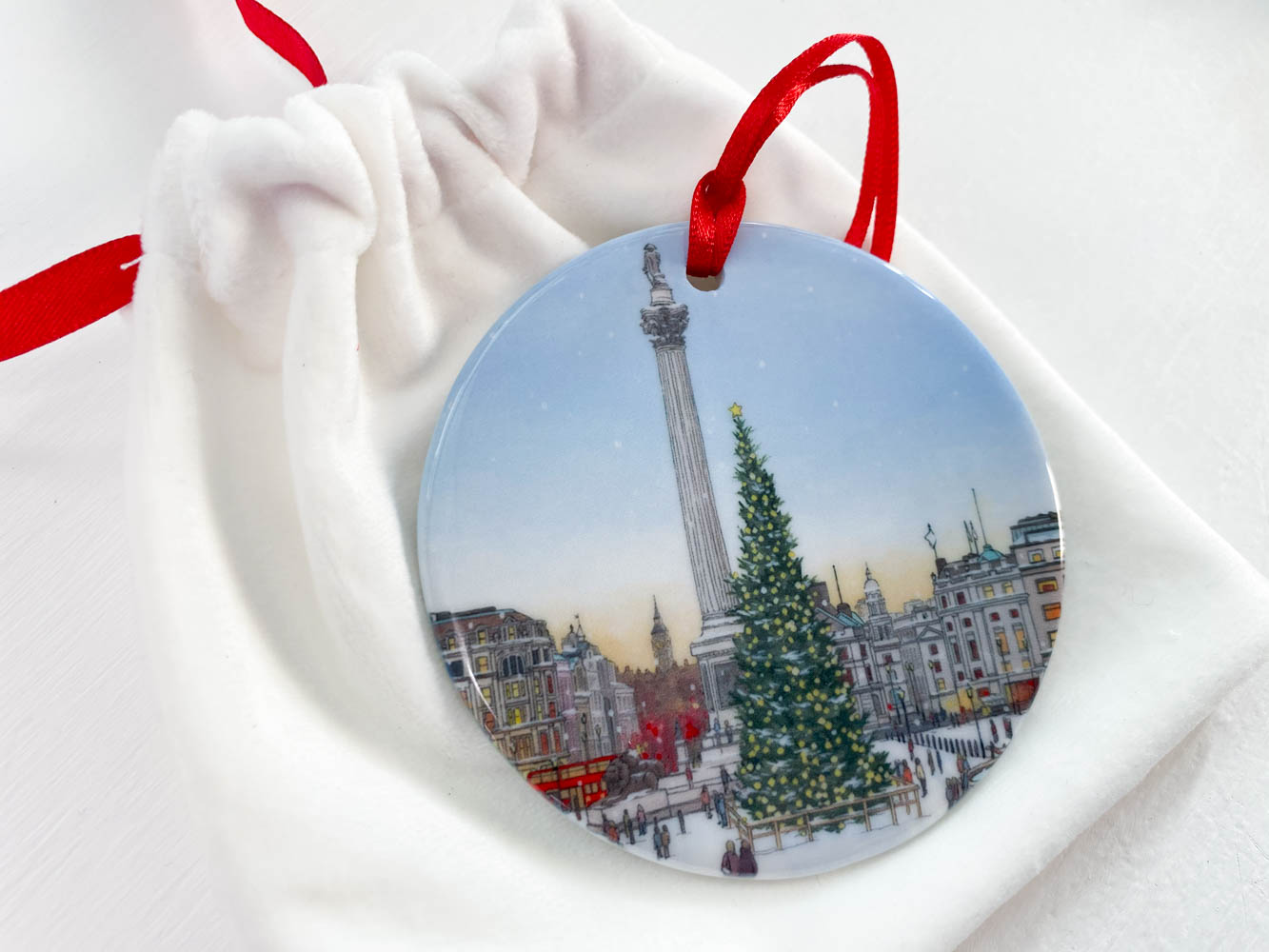 Trafalgar Square Christmas Tree Decoration - Illustration by Jonathan Chapman