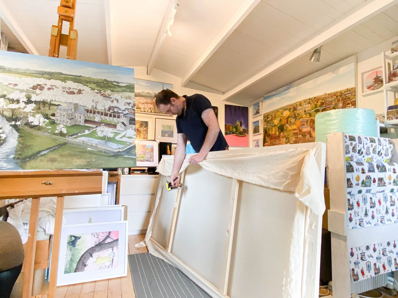 Canvas Preparation - Jonathan in the Studio