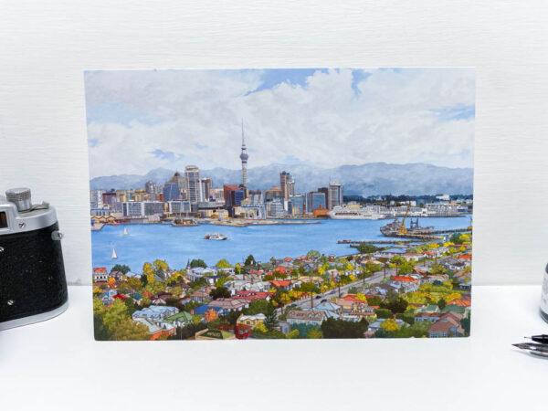 Auckland New Zealand Greeting Card - Illustration by Jonathan Chapman