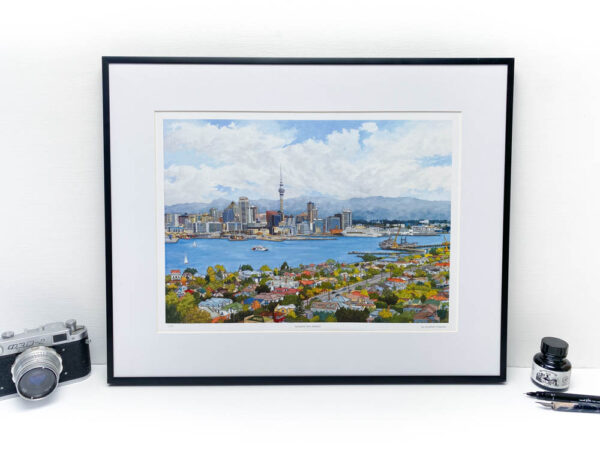 Auckland New Zealand Limited Edition Print - Illustration by Jonathan Chapman