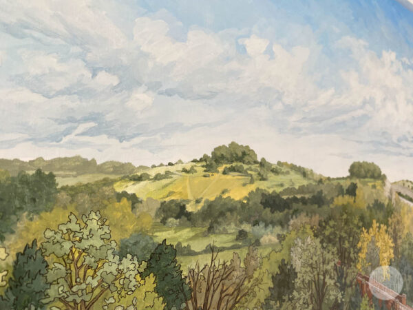 St Catherines Hill From Hockley Viaduct - Illustration by Jonathan Chapman