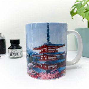 Chureito Pagoda Coffee Mug - Illustration by Jonathan