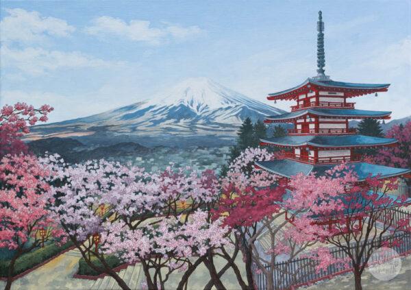 Chureito Pagoda Japan - Illustration by Jonathan Chapman