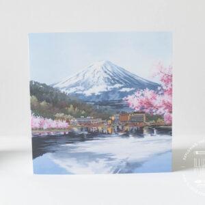 Mount Fuji Greeting Card - Illustration by Jonathan