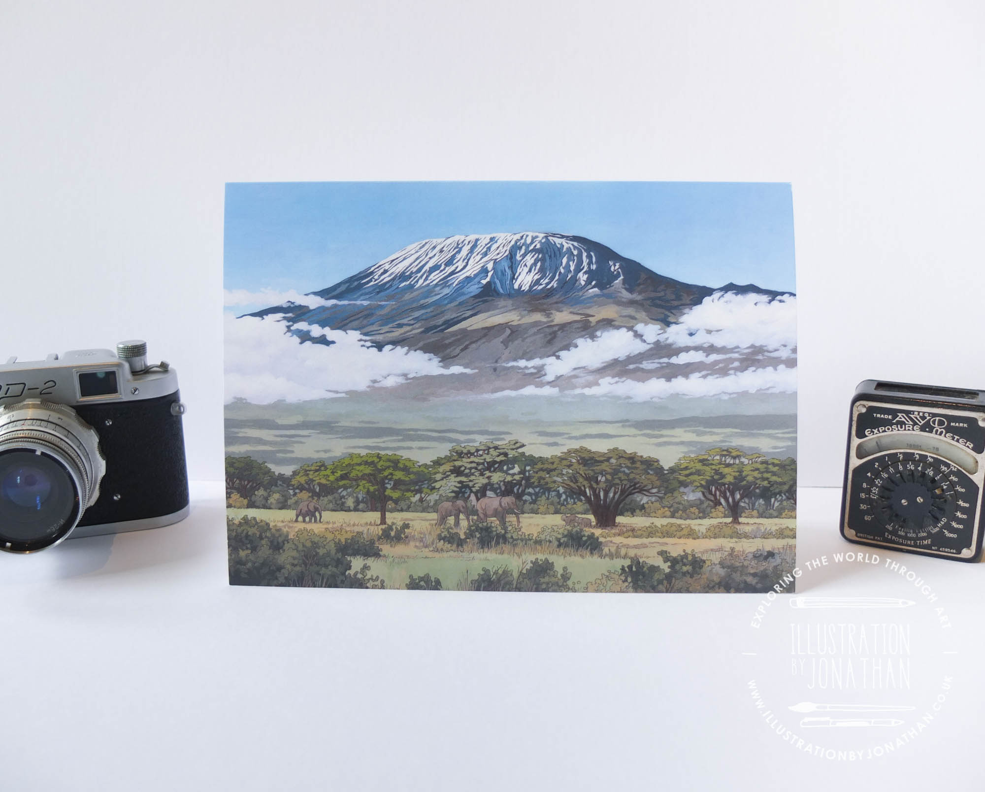 Mount Kilimanjaro Greeting Card - Illustration by Jonathan Chapman