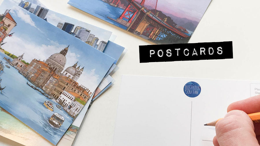 Postcards - Illustration by Jonathan Chapman