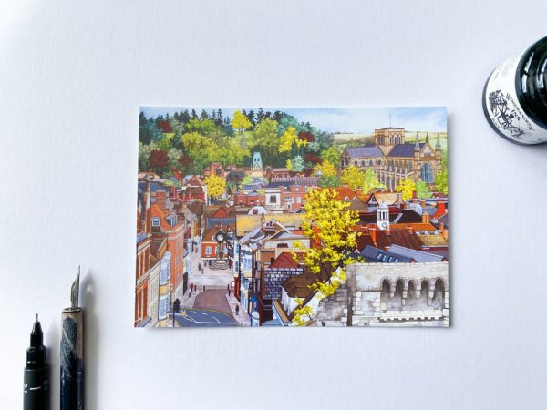 Winchester From the Westgate Postcard - Illustration by Jonathan