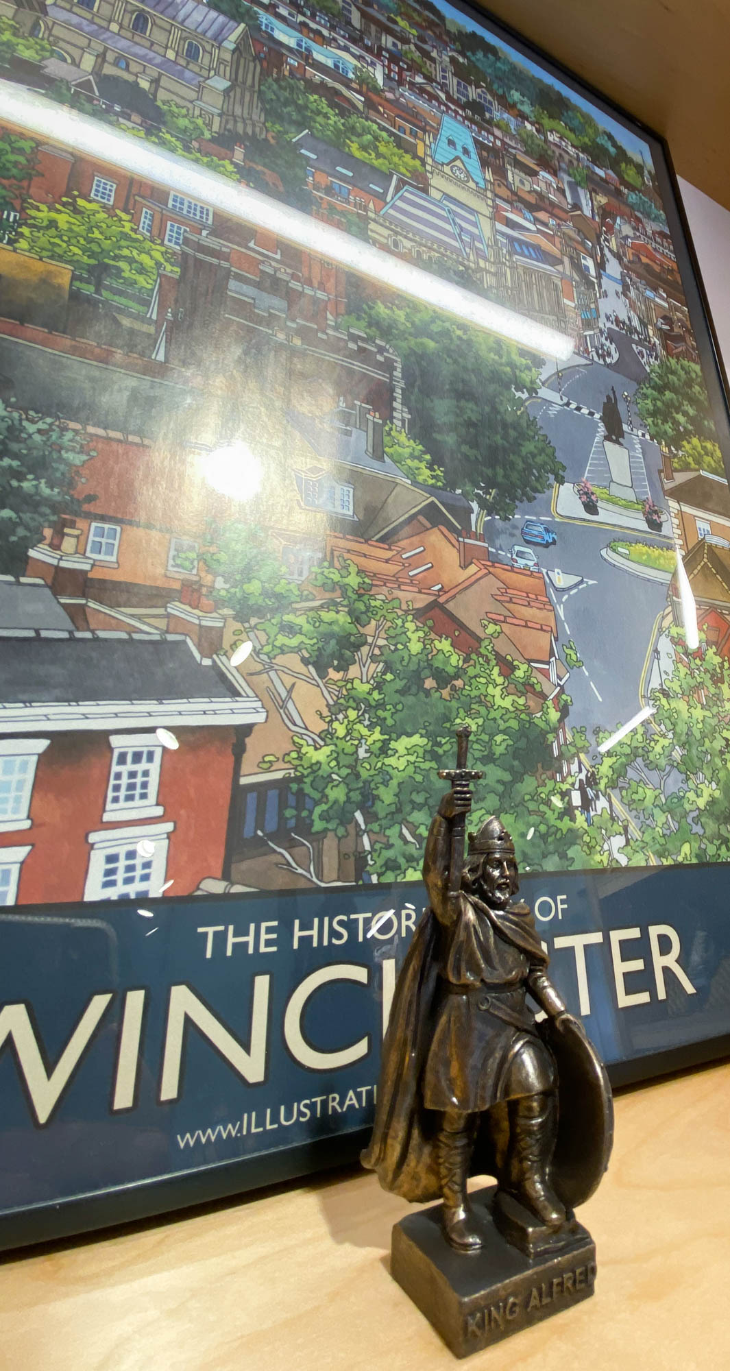 City Museum Display with King Alfred Statuette