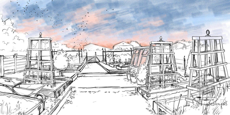 Allotment Sunset Sketch - Illustration by Jonathan Chapman