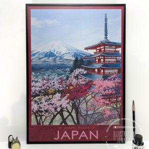 Majestic Seasons of Japan Travel Poster