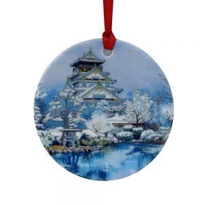 Osaka Castle in Winter Tree Decoration - Illustration by Jonathan